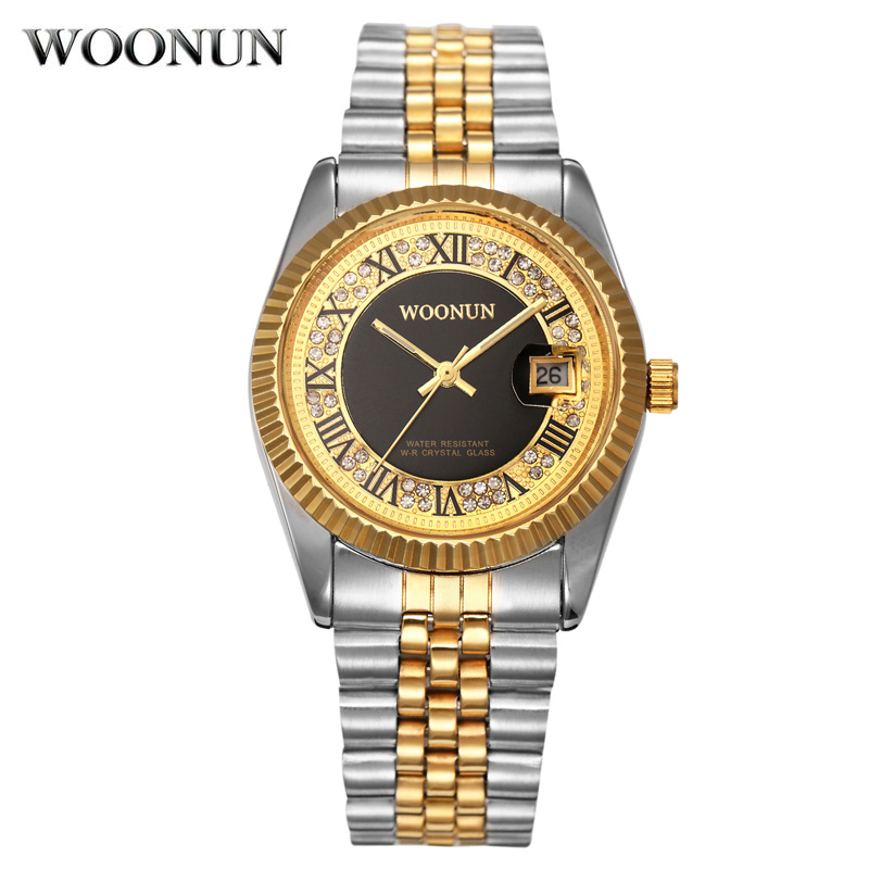 WOONUN Famous Brand Luxury Diamond Gold Watches Men Full Steel Silver Gold Quartz Wrist Watches Luxury Men Dress Watches<br><br>Aliexpress