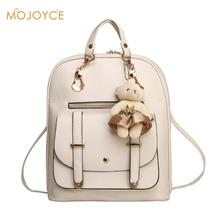 2018 New Casual Girls Backpack PU Leather 8 Colors Fashion Women Backpack School Travel Bag Bear Doll Teenagers Girls