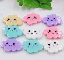 10pcs/lot kawaii flat back resin cloud with smile DIY resin cabochons accessories 24*16mm(China)
