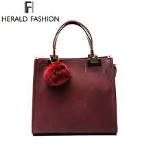 Herald Fashion Women Handbag Casual Tote Bag Female Large Shoulder Messenger Bags High Quality PU Leather Handbag with Fur Ball