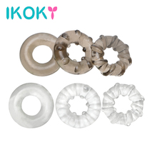 Buy IKOKY 3Pcs/set Penis Ring Delay Ejaculation Elastic Cock Ring Sex Toys Men Male Masturbator Adult Product Silicone Sex Shop