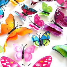 12pcs Mix Size 3D Butterfly Decals Creative Double-Layer Color Butterfly Wall Paste Wall Decor Butterflies DIY Wall Stickers(China)