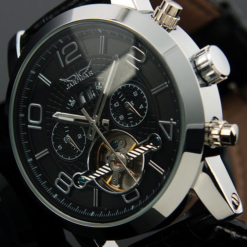 Luxury Black Dial Auto 6 Hands Date Day Tourbillion Analog Stainless Full Steel Band Wrist Dress Mens Mechanical Watch<br>