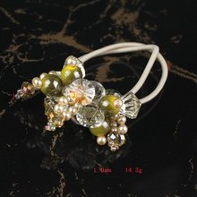 Free Shipping 12pcs/lot Cream Handmade Crystal Flower Hair Ornament Stretchy Green Beads  Ponytail Holder  HP0004