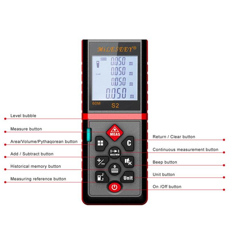 MiLESEEY Laser meter S2 40m 60m 80m 100m laser meter distance red Measurement laser meter digital laser distance meter 100m/40m<br>
