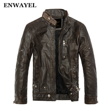 ENWAYEL Autumn Moto Vintage Mens Jackets Coat Motorcycle PU Male Leather Jacket Men Casual Stand Collar Slim Fit lether Brown