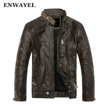 ENWAYEL Autumn Moto Vintage Mens Jackets Coat Motorcycle PU Male Leather Jacket Men Casual Stand Collar Slim Fit lether Brown(China)