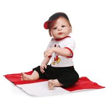 22inch Full Body Silicone Reborn Dolls 55CM Baby Dolls Lifelike Newborn Reborn Babies Toddler Dolls Cool Boy Doll For Kids Gift(China)