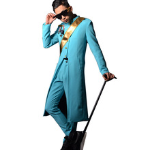 Nightclub Male Singer DJ Stage Show Clothes Stand Collar Fashion Slim Fit Trendh Coat Men Blue Long Tench Jacket Costumes(China)