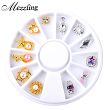 12pcs/Box Gold Silver Bow Flowers Design Alloy Nail Decoration Wheel 3D Charm Nail Jewelry Accessories(China)