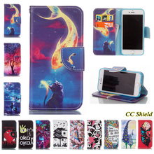 For Apple iPhone 6 Case Fashion painting natural style Leather Case Card Slot Stand Wallet Magnetic Flip Phone Cover