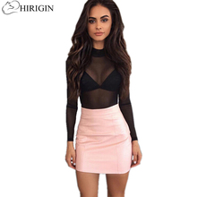 Buy HIRIGIN 2017 Fashion Women Mini hip skirt Ladies Sexy Bandge Leather High Waist Pencil Bodycon Hip Short Mini Skirts PU Leather for $5.18 in AliExpress store