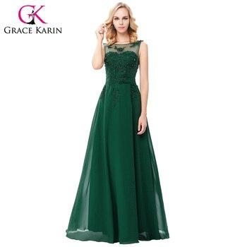 Grace karin largo elegante vestidos de noche 2016 de la gasa de rosa púrpura rojo azul negro formal vestido de noche abendkleider