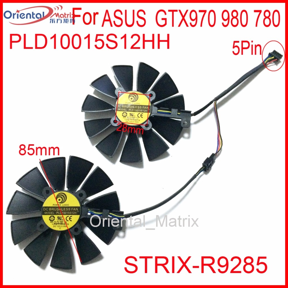 Free Shipping 2pcs/Lot PLD10015S12HH 85mm 12V 0.55A for ASUS GTX970 980 780 STRIX-R9285 Graphics Card Cooler Fan<br>