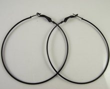 Free Shipping  72pcs(36pairs) 50mm Black Hoop Earrings Wholesale Fashion Earrings Big Hoop Earring