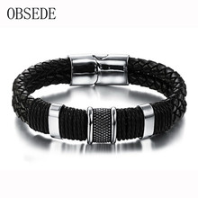 OBSEDE Fashion Genuine Leather Men Bracelet Titanium Stainless Steel Cuff Bracelets Black Braid Rope Punk Silver Color Jewelry
