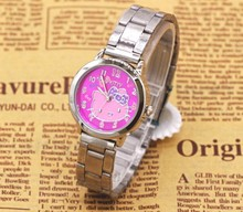 2015 hot sales Fashion Women stainless steel Watch Girls Hello Kitty Watch for Cartoon Watches 1pcs(China)