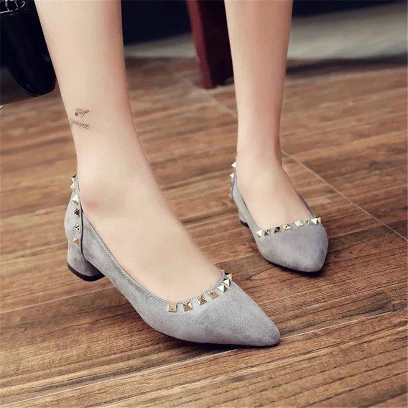 Free shipping spring womens thick heel pointed toe low heel work shoes rivets velvet shallow mouth high-heeled shoes <br><br>Aliexpress