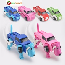 Free shipping 4 colors 14CM cool Automatic transform Dog Car Vehicle Clockwork Wind up toy for all children birthday gift(China)