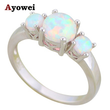 Ayowei Rings for Women Best White Fire Opal Silver Stamped Rings Opal Fashion Jewelry for Women USA sz#5#6#7#8#9#10 OR855A