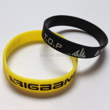 300pcs single color printed K-POP BIGBANG T.O.P TOP wristband silicone bracelets free shipping by DHL express