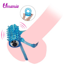 Buy Mini Vibrators Rings Double Male ring Delay Premature Ejaculation Penis Ball Loop Lock Adult Sex Toys Product Men / Couple