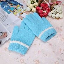 Autumn Winter Kids Gloves Boys Girls Mittens Thick Warm Wool Knit Student Full Fingers Glove Children Patchwork Guantes