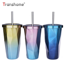 Transhome Creative Coffee Mug With Straw 500ml Double Wall Stainless Steel Gradient Diamond Shaped Vacuum Insulation Bottle Tour(China)