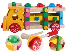 Wood Blocks/ Hiphop Child Desktop Puzzle Blocks Removable Screw Car Wood Toy Nut Combination