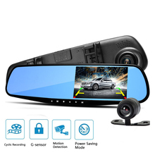 waterproof dual lens rearview mirror right display car camera auto cars dvr recorder video full hd1080p dash cam camcorder(China)