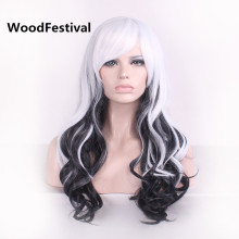 long curly mixed color wigs blonde red wig 65cm multicolour white black wig heat resistant synthetic wigs for women WoodFestival(China)