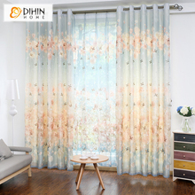 DIHIN 1 PC Garden Curtains for Children Elegant Window Curtains for Living Room 2 Colors Blinds Drapes Ready Made Curtains