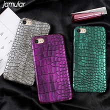 JAMULAR Crocodile Snake Pattern PU Leather Cover for iPhone 8 7 6 6s Plus Matte Hard Case for iPhone 7 Plus 6 6s Phone Shell