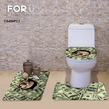 Toilet Seat Covers Set Mat Bathroom Warmer Toilet Washable Cloth Cartoon Cat Dog Money Designs Toilet Seat Cushion Dropship