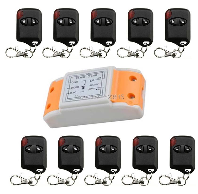 Hot Sales AC220V 10A 1CH 315MHz/433MHZ Wireless RF Remote Control Switch teleswitch 10* cat eye Transmitter+ 1*Receiver<br>