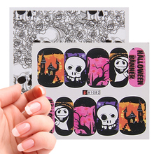 48pcs Halloween Ghost Pumpkin Castle Skull Nail Art Water Transfer Sticker 61*54mm Halloween Nail Sticker Decoration Accessories