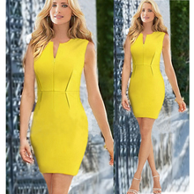 Ladies' V-Neck Sheath Party Dinner Dress Celebrity Pencil Dress Women Wear to Work Slim Bodycon Dress Yellow S/M/L/XL(China)