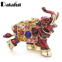 Dalaful 3D Auspicious Elephant Key Holder Chains Whole Enamel Colorful Crystal Bag Pendant Keyrings KeyChains For Women K280(China)