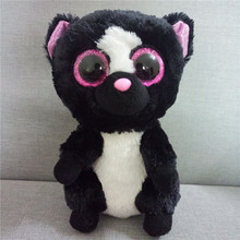 "Ty Beanie Boos 6"" 15cm Flora Black/White Skunk Plush Regular Stuffed Animal Collectible Big Eyes Doll Toy Juguetes Brinquedos(China)"