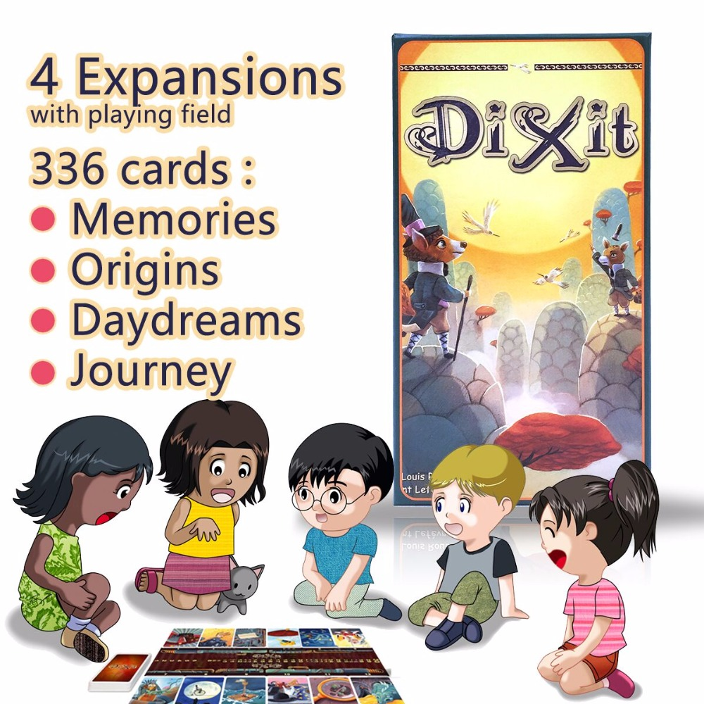 family board game dixit with 336 cards 12 players stable wooden bunnies,free shipping for kids education imagination languag<br>