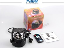 3W Voice-activated remote control LED small magic crystal ball mini rotating light colorful laser stage lights KTV bar