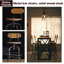 Vintage metal bar chair lift 100% wooden bar stool chair anti rust treatment wood Stool,metal furniture(China)