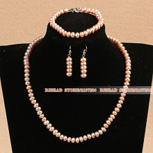 Graceful 6-7mm Natural All Light Pink Pearl Jewelry Set With Heart Clasp And Adjustable Chain (Necklace &Bracelet & Earrings)