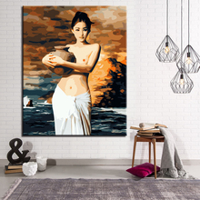 Holding Ceramics Beautiful Lady DIY Painting By Numbers Kits Hand Paint Oil Pictures Wall Art Drawing Coloring Living Room Decor(China)
