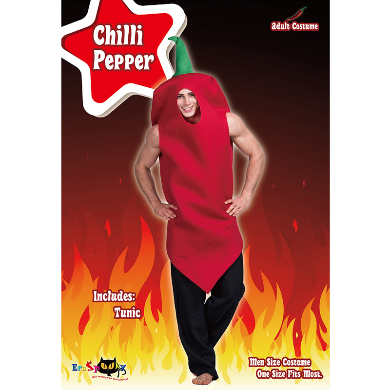 Halloween party cosplay adult men red  chilli pepper costume jumpsuit tunic