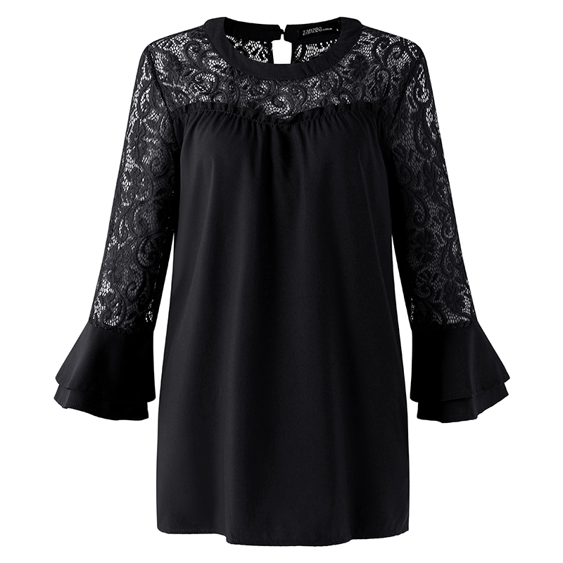 2018 ZANZEA Summer Women Blouse Elegant Lace Shirt O Neck Long Sleeve Patchwork Solid Beach Party Chiffon Shirt Loose Blusas 14