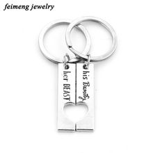 Classic Movie Beauty and the Beast Key Chain His Beauty Her Best Heart-Shaped Together Couples KeyRing For Men and Women in Love(China)