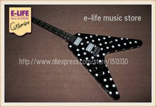 All Real Pictures RX10D Randy Rhoads Flying V Electric Guitar Black Karl Sandoval Polka Dot In Stock For Sale