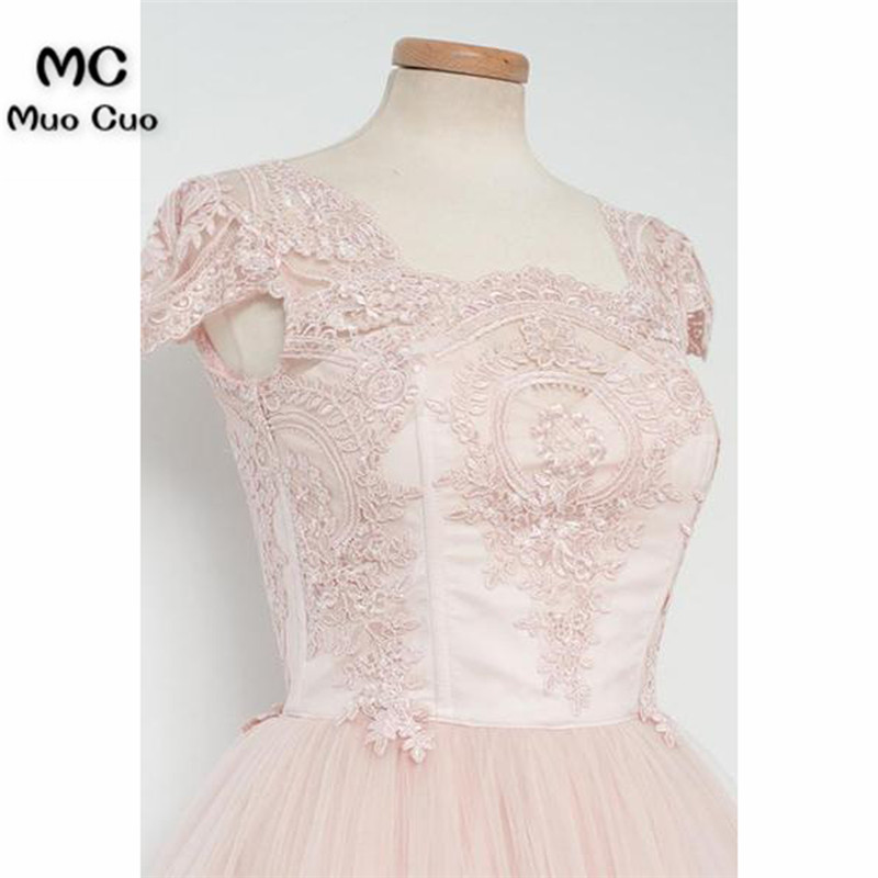 Vintage Knee-Length A-line Pearl Pink Homecoming Dress With Lace5