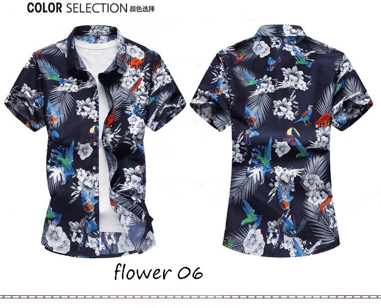 2018 Short Sleeve Mens Hawaiian Shirt Male Casual Camisa Masculina Flower Print Beach Summer Shirts Brand Clothing Men Plue Size 14